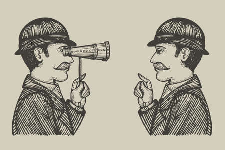Vector illustration of engraved gentlemen - attentive examination of personality concept as one vintage man looking through binoculars to another one pointing hand in objection. Illustration