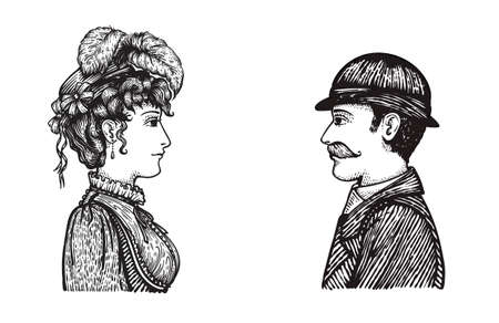 Vector illustration of two people - man and woman - communicating, concept hand drawn engraving style picture of vintage people group. Ilustração