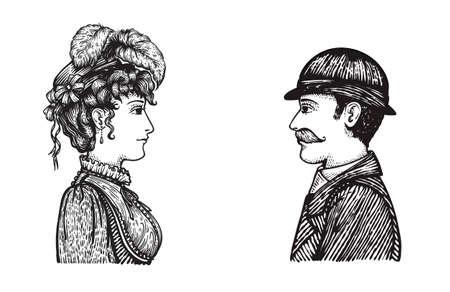 Vektor-Illustration von zwei Menschen - Mann und Frau - kommunizieren, Konzept Hand gezeichneten Gravur Stil Bild der Vintage Menschen Gruppe. Standard-Bild - 73323966