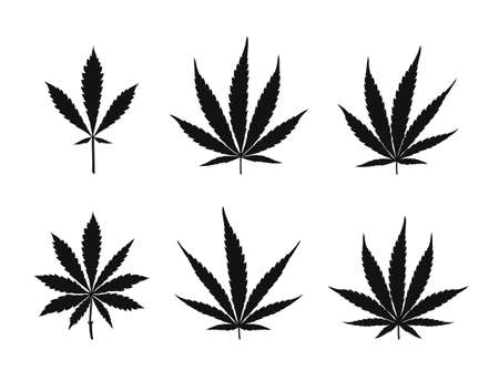 Vector cannabis leaves set - black plant isolated on white, medical and farm marijuana silhouettes. Illustration