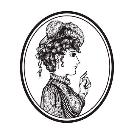 Vector illustration of vintage engraved woman portrait in hat with feathers and dress in round frame - person pointing with index finger, showing something - isolated on white with copy space, hand drawn clip art. Illustration