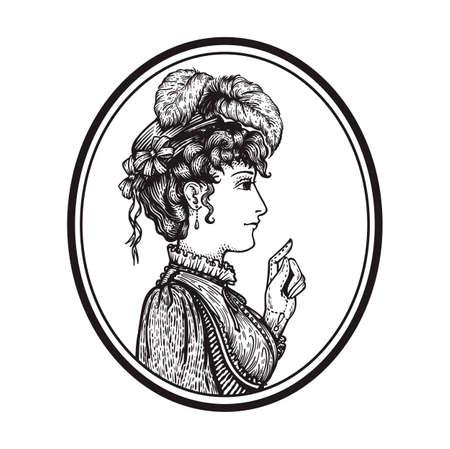 Vectorillustratie van vintage gegraveerde vrouw portret in hoed met veren en kleding in ronde frame - persoon wijzend met wijsvinger, tonen iets - geïsoleerd op wit met kopie ruimte, hand getrokken illustraties. Vector Illustratie