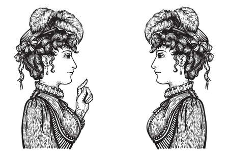 Vector illustration of vintage engraved women - mother pointing with index finger, showing something to daughter, teaching or giving advice - hand drawn clipart Illustration