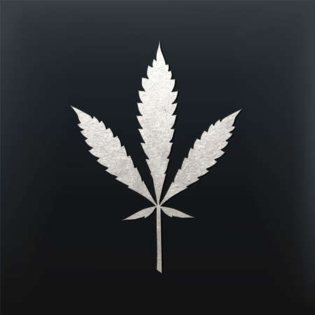 Vector cannabis leaf illustration - silver glitter foil plant silhouette isolated on black, medical marijuana ruderalis sort. Illustration
