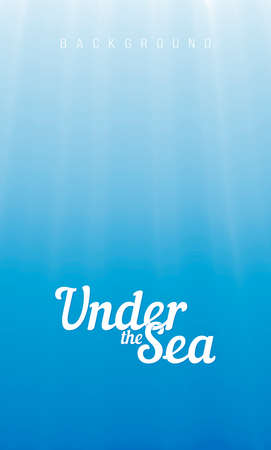 Background as vector underwater space - sun rays under water surface deep in ocean or sea