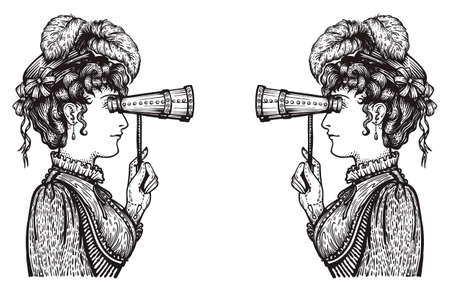Vector illustration of vintage engraved women looking to each other through binoculars with high attention