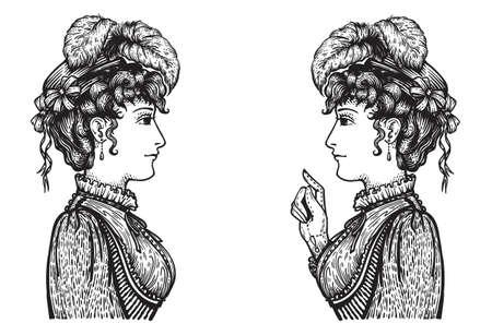 Vector illustratie van vintage gegraveerde vrouwen - persoon wijzend met wijsvinger, iets te tonen aan een ander, onderwijzen of het geven van advies - hand getrokken clipart