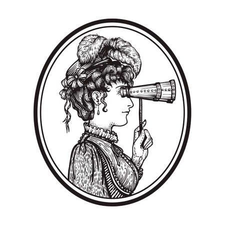 18th century style: Vector illustration of vintage engraved woman in hat with feathers and dress in ropund frame - person looking through binocular at something - isolated on white with copy space, hand drawn clip art.