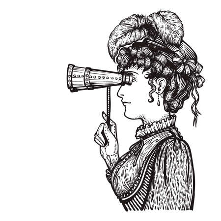 18th century style: Vector illustration of vintage engraved woman in hat with feathers and dress - person looking through binocular at something - isolated on white with copy space, hand drawn clip art.
