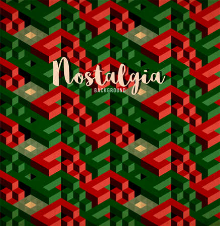 nostalgia style of retro 70s and 80s - isometric patterns with visual illusion effect and grans film texture