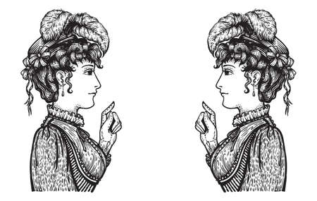 Vector illustration of two vintage engraved women having oppisite opinions in conversation - hand drawn clipart