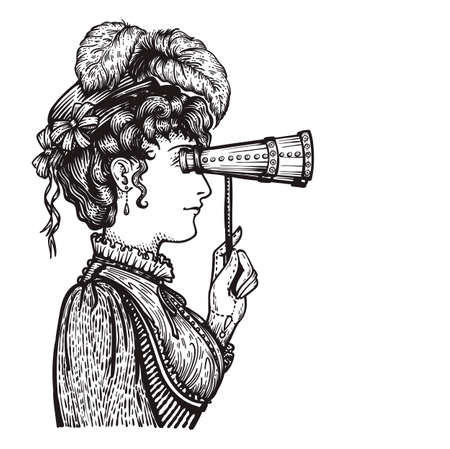 Vector illustration of vintage engraved woman in hat with feathers and dress - person looking through binocular at something - isolated on white with copy space, hand drawn clip art.