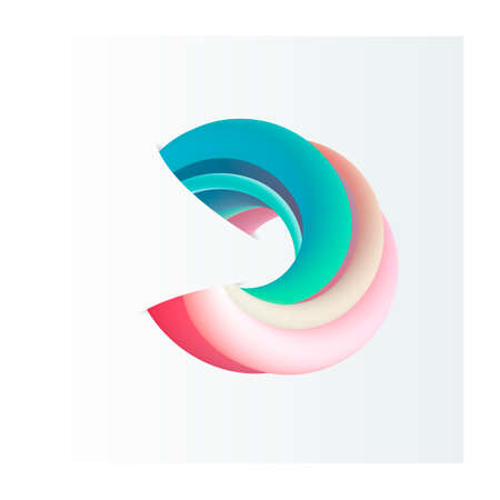 Vector Abstract shape in 3d volume effect style - color twisted ring with cut paper visual illusion, piersing background.