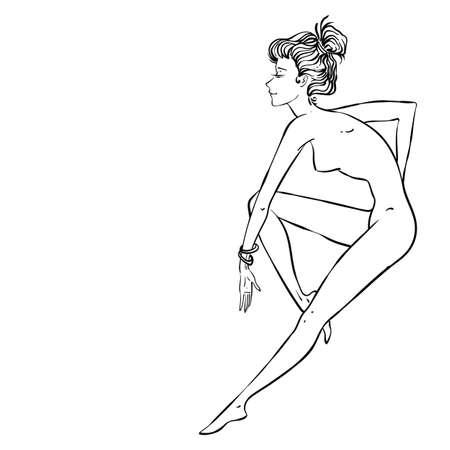 Sentadas Sexy Girl, Ilustración Vectorial Contorno Ilustraciones ...