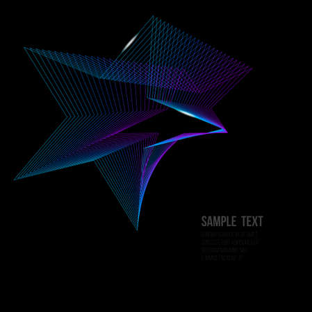 Vector illustration of shining space star in blue and purple colors with light effect isolated on black with copy space Illustration