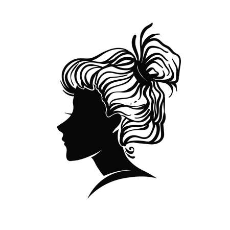 hairdress: Vector portrait of a woman, profile view, hair salon logo sign isolated on white