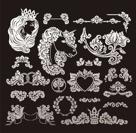 Vector royal wedding vignettes set in Medieval decorative style - elements for vintage decoration design - emblems cut out of realistic metallic silver foil isolated on black background.