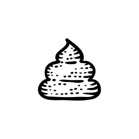 happens: Vector emblem of ancient engraved style poop, black trendy emoticon doodle isolated on white background.