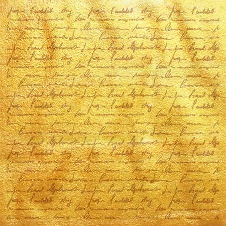 Vector gouden folieachtergrondmalplaatje voor kaarten, hand getrokken achtergrond - uitnodigingen, affiches - uitstekende gouden document textuur met handschriftbrief met gedichten, scrapbooking victorian stijlpagina. Stock Illustratie