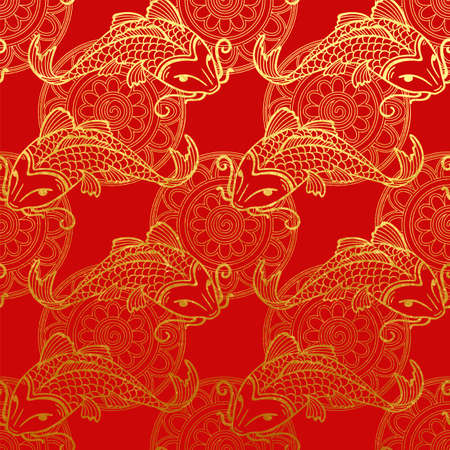 Vector gold pattern with Japanese carps koi on red - NON seamless pattern wash paper for scrapbooking or cards design backdrop.