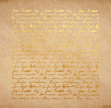 황금 잉크 필기 편지와 빈티지 오래 된 종이 텍스처. 시 배경, scrapbooking 빅토리아 스타일 페이지, 손으로 그린 된 벡터 일러스트 레이 션. 일러스트