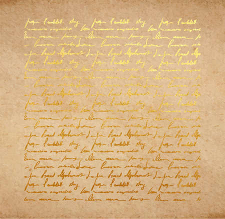 Vintage old paper texture with golden ink handwriting letter. Poems background, scrapbooking victorian style page, hand drawn vector illustration.