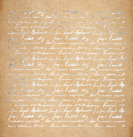 Uitstekende oude document textuur met zilveren inkthandschriftbrief. Gedichtenachtergrond, scrapbooking victorian stijlpagina, hand getrokken vectorillustratie. Stock Illustratie