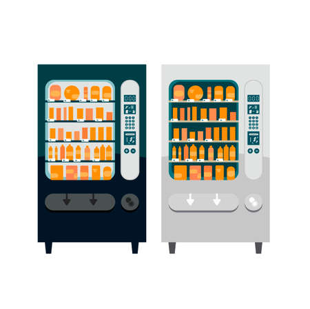 Set of two different vending machines. Illustration