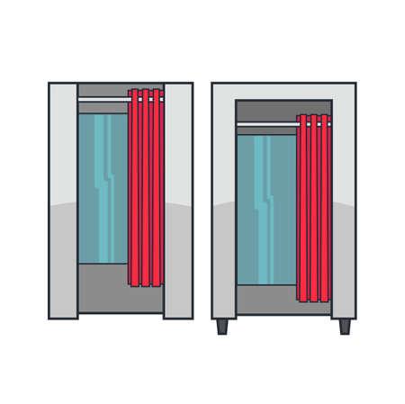 checkroom: Fitting room illustration.
