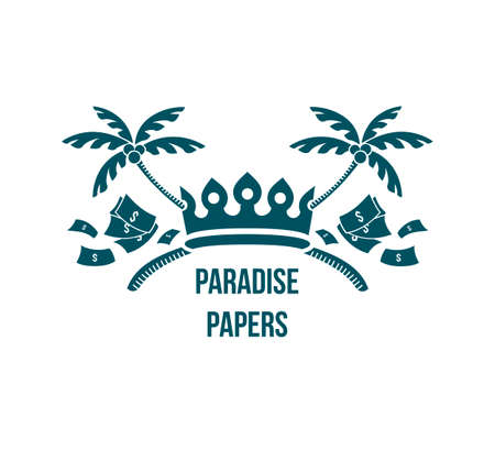Paradise papers logo - humor vignette with crown, money and tropic island palm trees crossed as sign of leaked documents about government money laundering and taxation crime