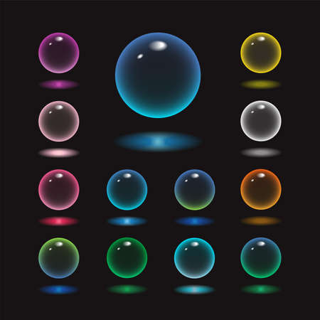 Vector rund glass sphere icons set of 13 colors - transparent soft pastel colored bubbles collection on demonstrative black background