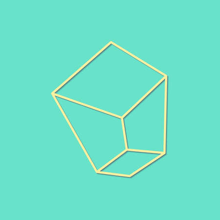 Vector pastel colors line art drawing of crystal with transparent shadow - light mint green and yellow minimal illustration
