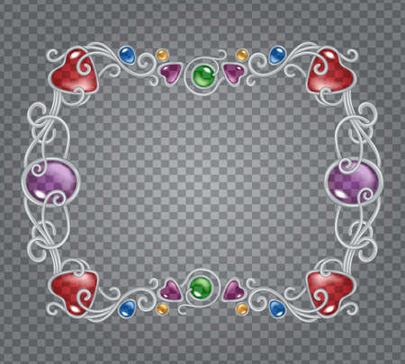 Vector illustration of gemstones and silver frame in fantasy style, for cards, decoration and wedding, on transparent demonstrative grid Reklamní fotografie - 98534126