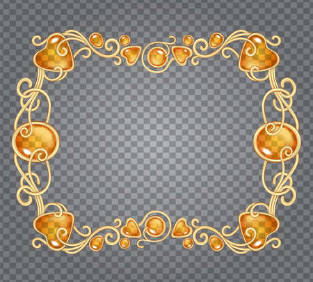 Vector illustration of amber gemstones and gold frame in fantasy style, for cards, decoration and wedding, on demonstrative transparency grid Ilustrace