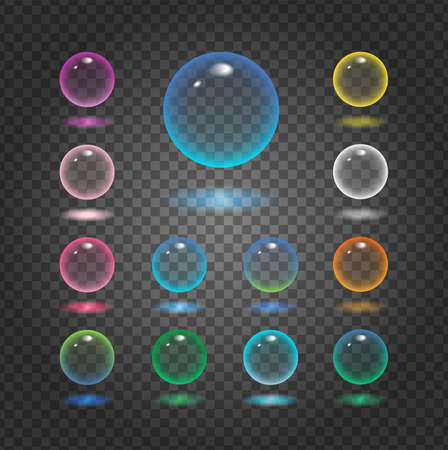 Vector rund glass sphere icons set of 13 colors - transparent soft pastel colored bubbles collection on demonstrative gray grid
