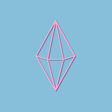 Vector pastel colors line art drawing of crystal with transparent shadow - baby blue and pink minimal illustration