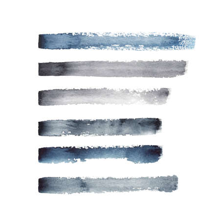 Vector set of isolated on white dry paint brush strokes, lines and marks. Indigo, blue, black and gray paint and ink as stylish watercolor decorative elements.