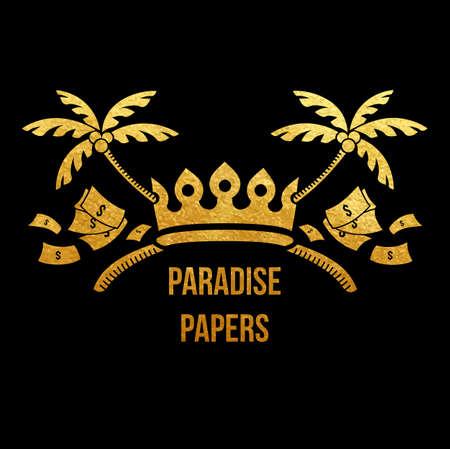 Paradiespapierlogo - goldene Folienvignette des Spaßes mit den Palmen der Krone, des Geldes und der tropischen Insel kreuzte als Zeichen von durchgesickerten Dokumenten über Regierungsgeldwäsche und Steuerkriminalität Standard-Bild - 98294236