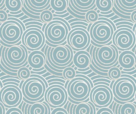 Illustration vectorielle de l'ancien modèle sans couture oriental de vagues ou de nuages, peinture argentée véritable et feuille métallique avec fond bleu, toile de fond décorative, emballage, design textile ou papier origami