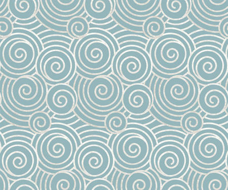 Vector illustration of oriental ancient seamless pattern of waves or clouds, real silver paint and metallic foil with blue background, decorative backdrop, wrapper, textile design or origami paper