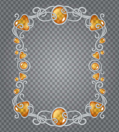 Vector illustration of transparent amber gemstones and silver frame in fantasy style, for cards, decoration and wedding, on demonstrative transparency grid Ilustrace