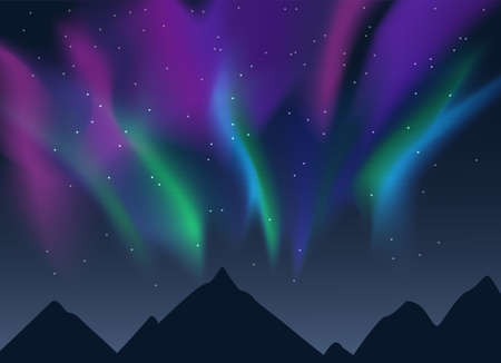 Vector illustration of night lanscape with mountains sihouettes, starry sky and purple and green aurora borealis