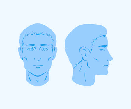 Vector portraits of a man - neutral blue template of a male human head portrait from side and front view Illustration