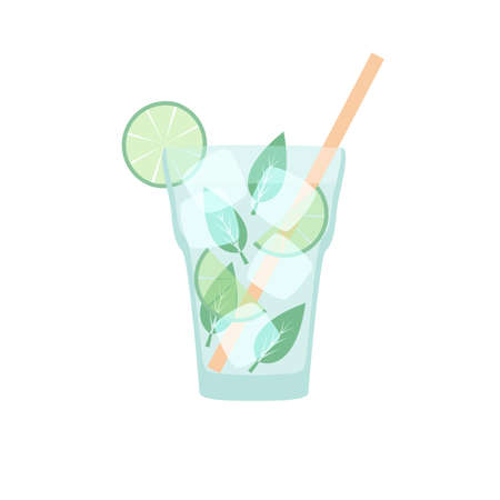 Vector beverage in flat style - mojito with straw, pepperming leaves, ice and lime isolated on white