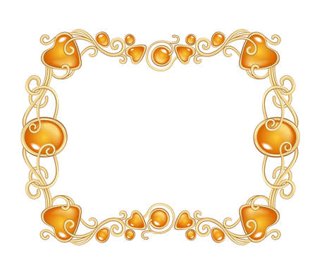Vector illustration of amber gemstones and gold frame in fantasy style, for cards, decoration and wedding, isolated on white
