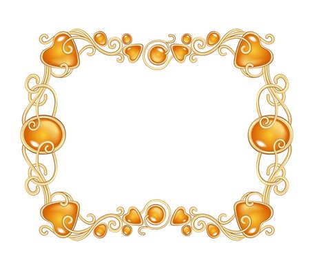 Illustrazione vettoriale di pietre preziose ambra e montatura in oro in stile fantasy, per carte, decorazioni e matrimoni, isolato su bianco