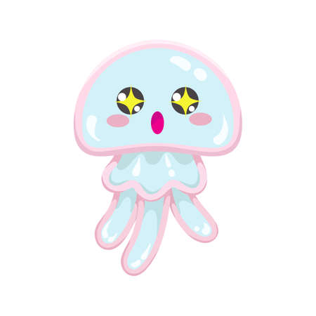 Kawaii vector blue jellyfish, japanese and korean cute style animal emoji with amazed big eyes with stars of exitement, isolated on white