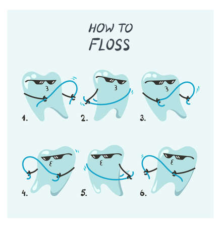 Vector illustration of flossing teeth Vectores