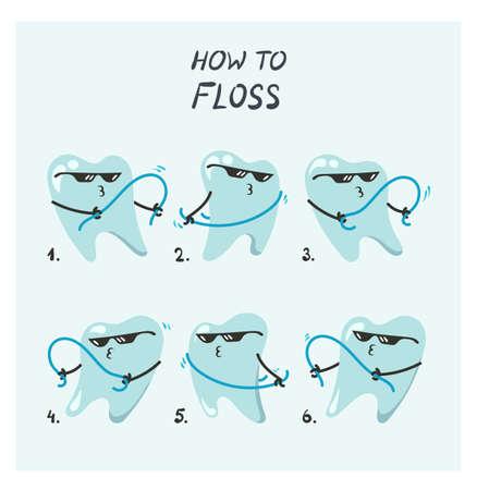 Vector illustration of flossing teeth Illustration
