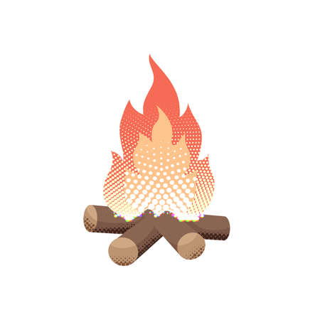 Vector illustration of a campfire in mid century comic book style with halftone and isolated on white background Ilustração